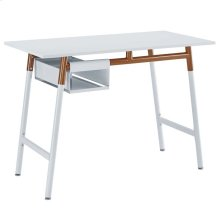 Respite Wood Writing Desk in White Orange