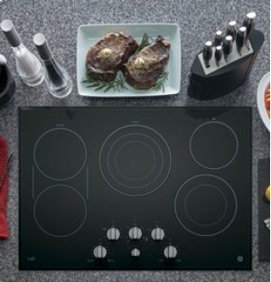 """GE Cafe 30"""" Electric Cooktop with Infinite Knob Control"""