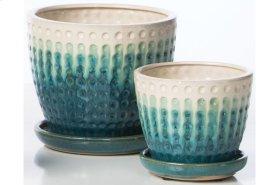 White/Aqua Cloquer Petits Pots with Attached Saucer - Set of 2