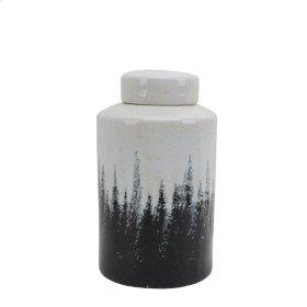 "Ceramic Covered Jar 15.5"", Gray/white"