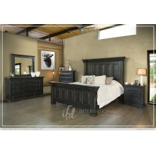 Terra Black King Bedroom Set: King Bed, Nightstand, Dresser & Mirror