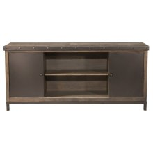 Jennings Entertainment Center With 4 Shelves and Sliding Door - Distressed Walnut