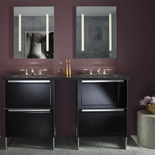 """Adorn II 36-1/4"""" X 34-3/4"""" X 21"""" Double Drawer Vanity In Charcoal Ash With Push-to-open Plumbing Drawer and Full Storage Drawer, Center Mount Sink, Legs In Brushed Aluminum and Night Light"""