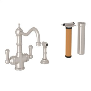 Satin Nickel Perrin & Rowe Edwardian Filtration 2-Lever Kitchen Faucet With Sidespray with Traditional Metal Lever