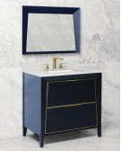 Black + Satin Nickel METAL TRIM CANTO 36-in Single-Basin Vanity Cabinet with Carrara Marble Stone Top and Muse 20x13 Sink Product Image