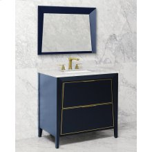 Black + Satin Nickel METAL TRIM CANTO 36-in Single-Basin Vanity Cabinet with Crema Marble Stone Top and Karo 20x13 Sink