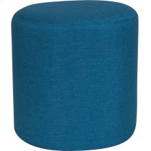 Barrington Upholstered Round Ottoman Pouf in Blue Fabric