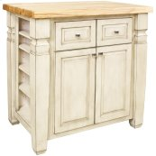 """34"""" x 22"""" x 34-1/4"""" French white furniture style kitchen island with adjustable shelves on both ends, ample cabinet storage on one side, and a decorative panel on the reverse."""