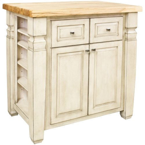 "34"" x 22"" x 34-1/4"" Furniture style kitchen island with French White finish."