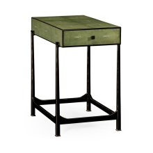 Green Faux Shagreen Bronze Side Table