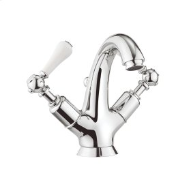 Belgravia White Lever Tall Spout Single-Hole Lavatory Faucet - Polished Chrome