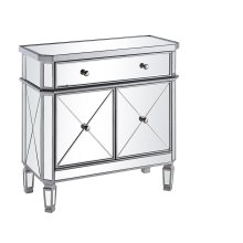 """1 Drawer 2 Door Cabinet L32""""W16""""H32"""" Silver Clear"""