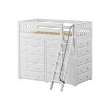 High Loft w/ Angle Ladder, 2 x5 Drawer Dressers & Narrow 5 Drawer Dresser : Twin : White : Slat