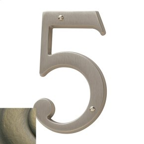 Satin Brass and Black House Number - 5