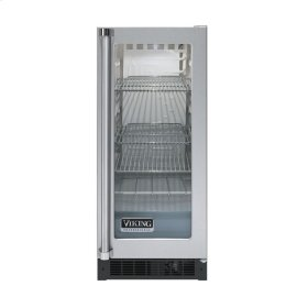 """Stainless Steel 15"""" Glass Door Beverage Centers - VUAR (White Interior, Clear Glass, Right Hinge)"""