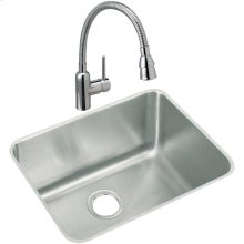 """Elkay Lustertone Classic Stainless Steel 23-1/2"""" x 18-1/4"""" x 12"""", Single Bowl Undermount Sink and Faucet Kit"""