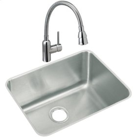 "Elkay Lustertone Classic Stainless Steel 23-1/2"" x 18-1/4"" x 12"", Single Bowl Undermount Sink and Faucet Kit"