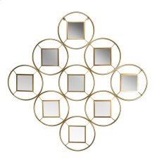 "Gold 9 Circle/square Mirror 45"", Wb"