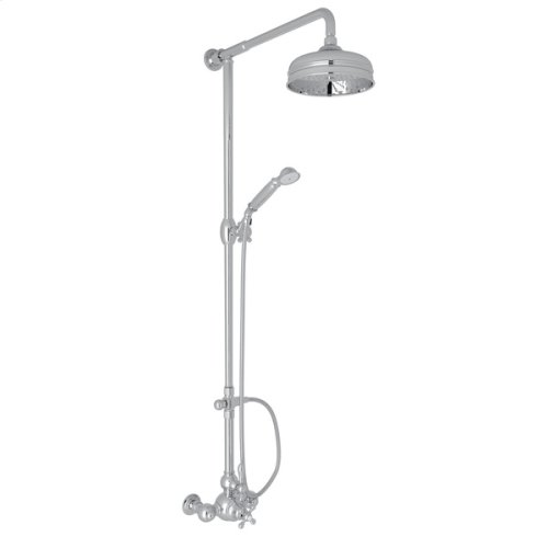 Polished Chrome Arcana Exposed Wall Mount Thermostatic Shower With Volume Control with Arcana Series Only Classic Metal Lever