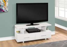 "TV STAND - 48""L / WHITE WITH 2 STORAGE DRAWERS"