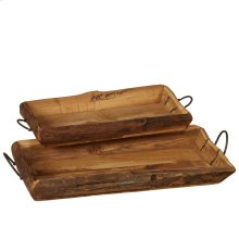 Vintage Carved Trays with Handle set/2 (Each One Will Vary).