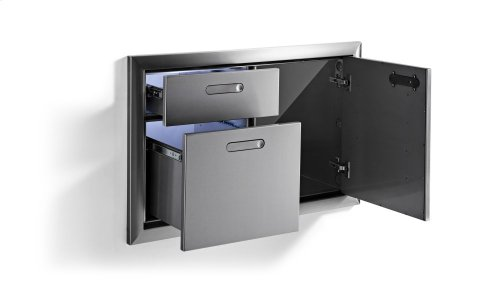 """36"""" Storage door & double drawer combination"""