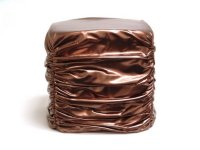 Gold Faux Leather Stool - 15.75x15.75x16.16 Product Image
