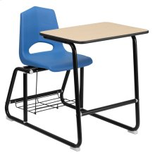 HERCULES Series Black Frame Student Sled Based Combo Desk with Blue Shell Chair, Natural Laminate Top and Book Rack