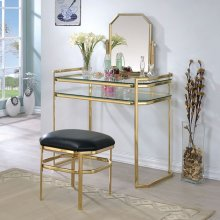Colleen Vanity W/ Stool, Gold