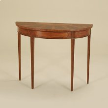 Irish Mahogany Finished Demilune Console Table, Crotch Mahogany and Satinwood Veneer