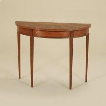 IRISH MAHOGANY FINISHED DEMILU NE CONSOLE TABLE WITH CROTC H MAHOGANY AND SATINWOOD VENEE