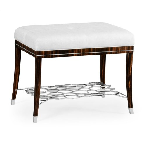 Macassar Ebony Stool with White Brass Detail, Upholstered in COM