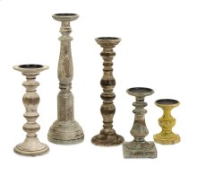 Kanan Wood Candleholders with Distressed Finish - Set of 5