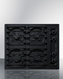 """24"""" Wide Sealed Burner Gas Cooktop In Black With Cast Iron Grates and Spark Ignition, Made In the USA"""