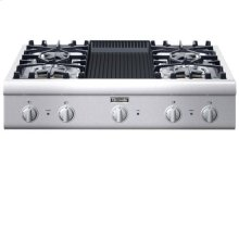 """36"""" COOKTOP WITH 4 STAR BURNERS AND GRILL (2 W/EXTRALOW® BURNERS)"""
