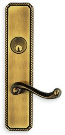 Exterior Traditional Mortise Entrance Lever Lockset with Plates - Solid Brass in SB (Shaded Bronze, Lacquered) Product Image