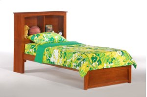 Vanilla Bookcase Headboard Platform Bed