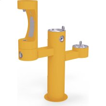 Elkay Outdoor EZH2O Bottle Filling Station Tri-Level Pedestal, Non-Filtered Non-Refrigerated Yellow