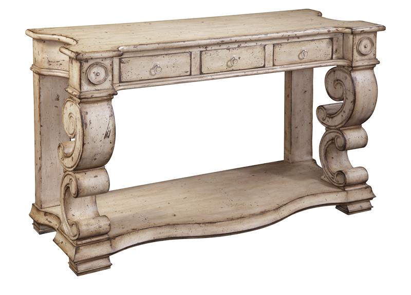Scrolled Sides Console With 3 Drawers In Distressed Buttermilk Finish By Ultimate  Accents Hidden
