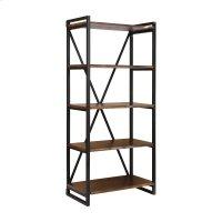 South Loop Dark Brown With Black Acacia Wood and Metal Bookshelf Product Image
