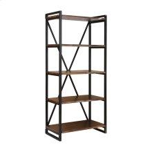 South Loop Dark Brown With Black Acacia Wood and Metal Bookshelf