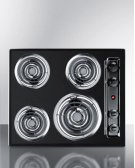 "24"" Wide 220v Electric Cooktop In Black Porcelain Finish Product Image"