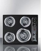 "24"" Wide 220v Electric Cooktop In Black Porcelain Finish Product Image"
