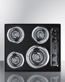 "24"" Wide 220v Electric Cooktop In Black Porcelain Finish"