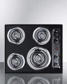 """24"""" Wide 220v Electric Cooktop In Black Porcelain Finish"""