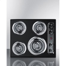 """24"""" Wide 220v Electric Cooktop In Black With 4 Coil Elements"""