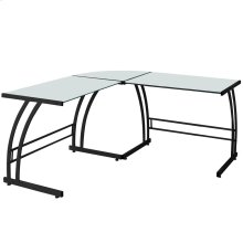 Double Bit Computer Desk - Black Metal, Frosted White Glass