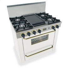 "36"" All Gas Range, Open Burners, White with Brass"