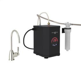 Polished Nickel Perrin & Rowe Holborn C-Spout Hot Water Faucet, Tank And Filter Kit with Contemporary Metal Lever
