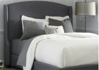 Wing Shelter Upholstered Bed Queen - Dark Grey Linen Product Image